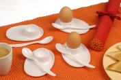 SET OF 8 WHITE PLASTIC EGG CUPS AND SPOONS BOILED EGG HOLDER CUP SPOON REST
