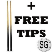 A PAIR OF 140cm POOL CUES + SPARE TIPS **