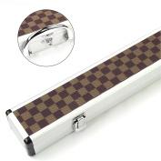 3/4 CHEQUERED ALUMINIUM Pool Snooker Cue Case - 116cm Max Shaft Length
