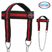 Farabi Head Harness Neck Builder Harbinger Head Harness Neck builder belt Dipping Training Weight Lifting Padded Synthetic Leather Replacement Head Harness Chain Strength Adjustable Belt Strap Fitness Gym Training Neck Exercise