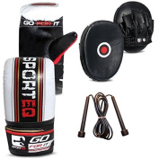 Boxing sparing Leather punching pads focus pads set inc punching gloves + FREE skipping rope