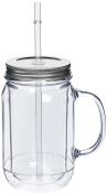 Pack of 4 Double Wall Plastic Mason Drinking Jar Glasses 16oz / 470ml | SAN Plastic Drinking Jars with Lid & Straw