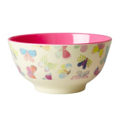 Melamine Bowl Two Tone with Butterfly Print by Rice DK