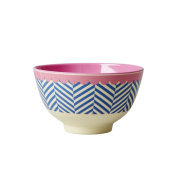 Small Melamine Bowl Two Tone with Sailor Stripe Print by Rice DK