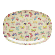 Rectangular Melamine Plate with Butterfly Print by Rice DK