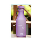 Doyime 550 ml Not Easy Breaking Frosted Bottle With Cover Leak Proof Creative Portable Water Cup Plastic Bottle Glass Purple