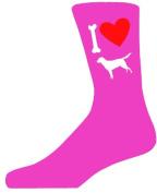Hot Pink Ladies Novelty Labrador Socks - I Love My Dog Socks