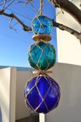 Reproduction Trio Colour Glass Float Fishing Ball Buoy 7.6cm 10cm 13cm