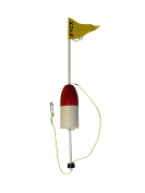 KUFA Sports Crab Trap Float with PVC Flag Pole, Red/White, 120cm