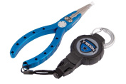T-REIGN Fishing Pliers with Medium Retractable Gear Tether, Carabiner, 90cm Kevlar Cord, Black Polycarbonate Case