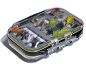 Outdoor Planet Double Side Waterproof Pocketed Fly Box + Assorted Trout Fly Fishing Lure Pack of 10/ 15/ 28/ 35 Pieces Fly Lure