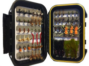 Most Popular Flies Mini-Mega Assortment by Wild Water, 60 Flies with Small Fly Box