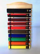 Ten Level Martial Arts Karate Taekwondo Judo Belt Display Holder hand made quality (thicker) wood nice finished