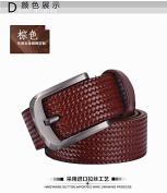 D & L Casual Genuine Leather woven pattern Pin Buckle Belt