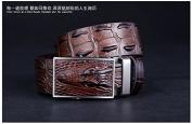 D & L Men's Crocodile Embossed Genuine Leather Ratchet Belt Brown