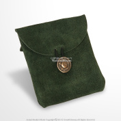 Mediaeval Gears Brand Mediaeval Green Genuine Suede Leather Belt Pouch Satchel Bag Renaissance Costume