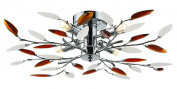 Modern 4 Light Semi Flush Chrome Ceiling Light with Amber and White Leaves by Haysom Interiors