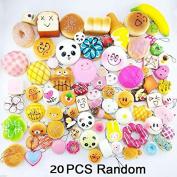 ZHUOTOP 20pcs Random Colourful Lifelike Bread Soft Squishy Phone Chain Straps