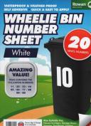 CrazyGadget® Wheelie Bin Number Sheet Self Adhesive Water Proof Numbers for Wheelie Bins Recycling Bins House Garage Lockers Door Number Stickers - White