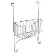 InterDesign Ironing Board Holder with Storage Basket for Clothing Iron, Chrome
