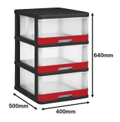 Allibert 229196 Hercule Storage Tower with 3 Drawers 25 L Black Red Plastic 40 x 50 x 69 cm