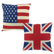 "Luxbon Pair of Union Jack Flag and USA American Flag Stars & Stripes Cushion Cover Durable Cotton Linen Throw Pillow Case Flag Lover Gift 18""x18""45x45cm"""