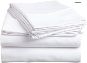 Crafts Linen Egyptian Cotton 500-Thread-Count Sateen One Fitted Sheet Super King Size (+36 CM) Pocket Depth, White Solid