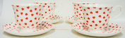 Love Hearts Cups and Saucers Set of Four Fine Bone China Tea Coffee Cups & Saucers Hand Decorated in the UK Free UK Delivery