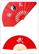brand new classic martial arts LETTER WU plus Tai Chi fan kung fu fan 2pcs fan red fan dance fan folding Tai Chi martial arts fitness with sound