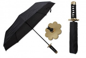 KCCEDGE 37cm Hana (Flower) Black Samurai Handle Umbrella