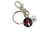 Custom Lukemia Cancer Awareness Ribbon Silver Key Chain Initial Family Charm