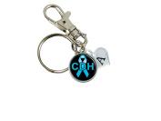 Custom Congenital Diaphragmatic Hernia Awareness Ribbon Silver Key Chain Initial Family Charm