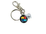 Custom Autism Awareness Ribbon Silver Key Chain Initial Family Charm