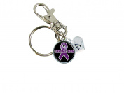 Custom Chronic Pain Awareness Purple Ribbon Key Chain Initial Family Charm Gift