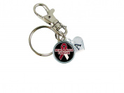 Custom Head and Neck Cancer Awareness Ribbon Silver Key Chain Initial Family