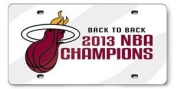 Miami Heat 2013 Champions White Deluxe Laser Cut Acrylic Mirrored Licence Plate Tag Basketball