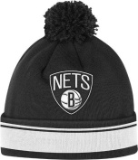 Mitchell And Ness Brooklyn Nets Stripe Cuffed Knit Hat Black 0