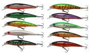 JSHANMEI 10pcs/lot 13cm 3D Fishing Eyes Laser Line Hard Minnow Baits Life-like Swimbait Fishing Lures Bass Crankbait Tackle for Pikes/Bass/Trout /Walleye/Redfish