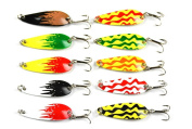 "Hengjia 10pcs/lot Mini Fishing Casting Metal Spoon Lure Grasshoppers Shape for Bass Trout and Pike 4.3cm/1.69""/6g"