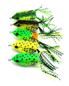 Hengjia 5pcs/lot frog top water plastic fishing lures wobble bass snakehead fishing baits fishing tackles 6cm 12g
