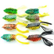 "Aorace 8pcs Lifelike Topwater Frog Fishing Lure Crankbait Hooks Bass Soft Lure Bait Tackle 2.4""-6cm15ml-13.4g"