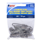 American Fishing Wire 6 Stainless Steel Ball Bearing Snap/Swivels (10-Piece), Black, 150kg
