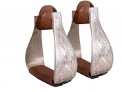 Tahoe Tack Silver Aluminium Engraved Stirrups for Western Horse Show Saddles