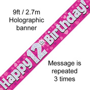 12th Birthday Pink Holographic Banner