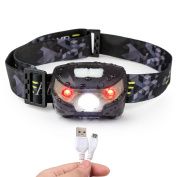 Head Torch, Blusmart Headlamp LED Rechargeable USB CREE Headlight Perfect for Running Walking Camping Reading Hiking DIY and More