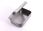 1 x Mini blank silver hinged tobacco storage survival tin