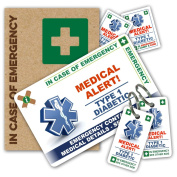 DIABETIC In Case of Emergency (I.C.E.) Card Pack **NEW Design 2017** with Writable Key Rings & 2 sizes of Sticker from ICEcard. Wallet size card with WRITABLE reverse to carry Emergency Contact & Medical / Medication Information. Suitable for anyone wi ..