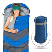 Sleeping Bag - Envelope Lightweight Portable, Waterproof, Comfort With Compression Sack, - Great For 4 Season Travelling, Camping, Hiking, & Outdoor Activities.