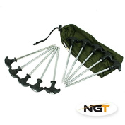 10 bivvy pegs in a case