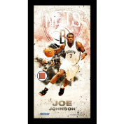 NBA New Jersey Joe Johnson Player Profile Framed Photo Collage with Game Used Basketball, 25cm x 50cm